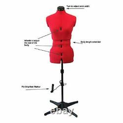 Adjustable Dressmakers Dummy Sew Simple Plain Red Size Small UK 10-16. Made