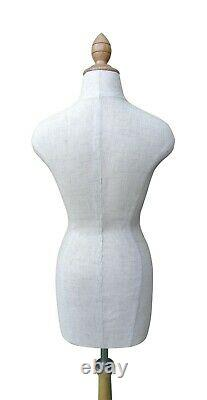 Half Scale Mini Mannequin Dress Tailors Dummy Draping Stand Black and Beige