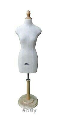 Half Scale Mini Mannequin Dress Tailors Dummy With Wooden Base