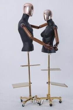 Male Female Abstract Mannequin Electroplating Head Hand New Black