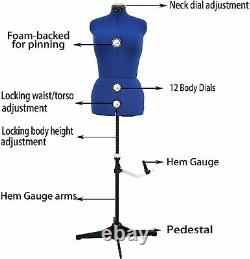 Mannequin Dummy Dressmaker Adjustable Form with 13 Dials for Sewing, Tailors