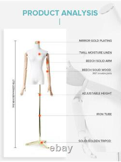 New Female Male Tailors Dummy Mannequin With Articulated Wooden Arms Metal Base