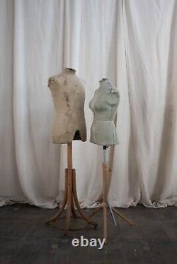 Pair Of Antique Male And Female Tailors Dummies Shop Fittings