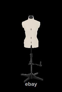 Tailors Dummy Adjustable Torso Dressmaker Female Mannequin Sizes 6 to 22 Cream