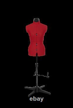 Tailors Dummy Adjustable Torso Dressmaker Female Mannequin Sizes 6 to 22 Red