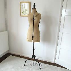 Vintage English Adjustable Chil-Daw Tailors Dummy Size 32 39 Linen & Metal