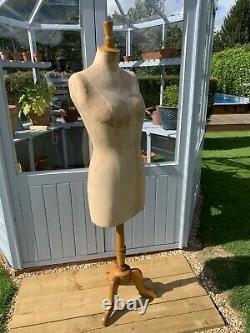 Vintage Ladies Female Stockman Paris Mannequin Shop Tailors Dummy Wooden Stand