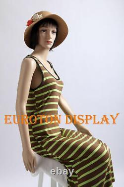 2 Perruques Gratuit Assis Moderne Chic Sf-06 Mannequin Femme Nouveau
