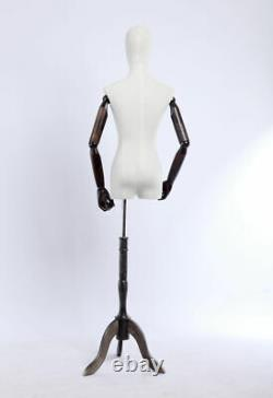 B3t-g Tissu Femelle Recouvert Torso Tailor's Dummy Wood Mauvaise Main Réglable