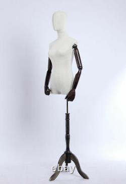 B3t-g Tissu Féminin Couvert Torse Tailor's Dummy Wood Poor Hand Réglable