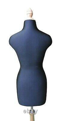 Demi-échelle Mini Mannequin Robe Tailors Drapant Dummy Stand Noir Et Beige