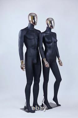 Homme Femme Résumé Mannequin Electroplating Tête Nouveau Noir
