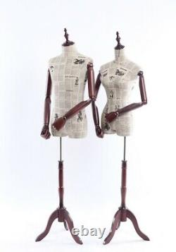 Tailleur's Dummy Fabric Covered Torso Wood Arm Finger Movable Holzstand Three-leg