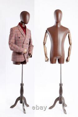 Tailor's Dummy De Brown Leatherette Moveable Arms Solid Wood Nouveau